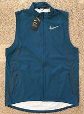 Nike Shield Mens Lightweight Running Vest Blue Size Large L Water Resistant
