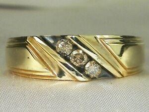Men's 10k Yellow Gold Champagne Diamond-.21 tcw Band Fine Three Stone Ring-Sz 10