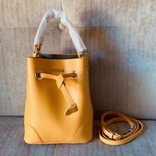 FURLA Ginestra Yellow Stacy Mini Cross Body Bucket Crossdody Bag Hardware