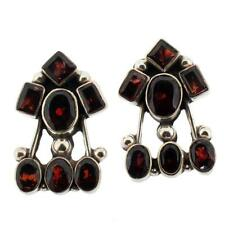 Large Red Garnet Post Earrings Sterling Silver Jewelry Semi-Prescious Gemstone
