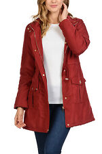 Auliné Collection Women's Satin Faux Fur Lined Hoodie Long Coat Anorak Jacket