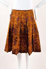 Prada Brown Orange Blue Silk Floral Pattern Pleated A Line Skirt SZ 40