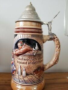 """VINTAGE ORIGINAL KING WESTERN GERMANY BEER STEIN 10"""" LIDDED #373 1/2"""