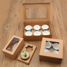 5/10pcs 2/4/6 Holes Cupcake Cookies Fairy Cake Muffin Boxes Clear Window Gift