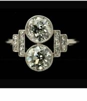 Vintage Twin Stone Engagement Ring 2.96 Ct Round Cut Diamond 14K White Gold Over