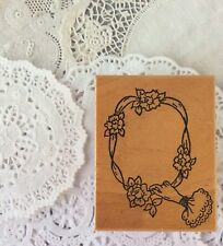 Me & Carrie Lou Victorian Rubber Stamp Hand Holding Ribbon Floral Shabby Frame