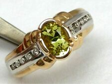 14K Michael Valitutti Natural Green Chrysoberyl 1.5CT Ring with Diamonds RARE