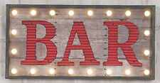 Large Retro Indoor LED Light Up Red Bar Sign Wooden Hanging Wall Plaque Club Pub