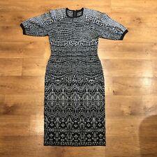 Karen Millen Dress Bodycon Wiggle Patterned Grey Black UK 4