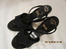 Preowned Vintage Women's Black Suede Shoes Size 6 1/2 to 7 Deliso Debs Cosmic