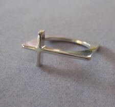 Mexican 925 Silver Taxco Modern Shiny Slim CROSS Abstract Unique Ring Size 7.75