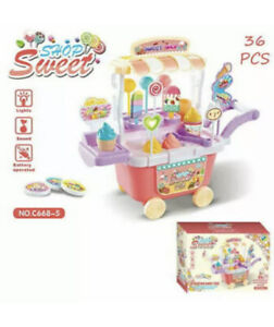 Kids Pretend Play 36pcs Sweet Shop Candy Ice Cream Cart Toy Set Light/Sound Gift