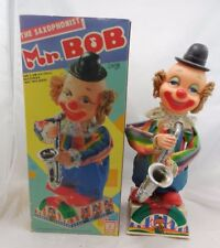 Vintage Battery Operated Mr Bob Saxophone Player In Original Box Working