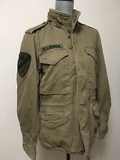 Denim Supply Ralph Lauren Men Skull Patched Military Field Jacket Olive Khaki XL
