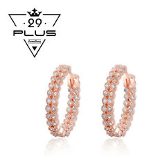 Women 18K Rose Gold Filled Crystal Double Rings Fashion Earrings Gift