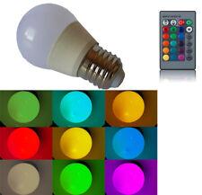 FARETTO LAMPADA RGB LED 220V E27 RGB 3 WATT CON TELECOMANDO LAMPADINA E27 RGB