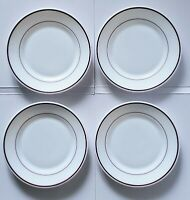 "Arcopal Bordeaux Restaurant Bread Salad Plate 6"" Red Band Rim Set of 4 France"