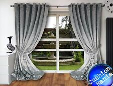 Crush Velvet Curtains Eyelet Ring Top Thick Ready Made Fully Lined