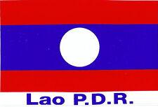 A49 Sticker autocollant plastifié drapeau pays Laos P.D.R Lao Laotien