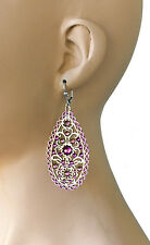 "3"" Long Purple Crystals Bohemian Style Anne Koplik Earrings, Made In USA,Pageant"
