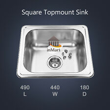 NEW 490x440mm Square Laundry Kitchen Sink Slim Stainless steel Topmount
