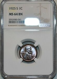 NGC MS-64 BN 1925-S Lincoln Cent, Attractively toned, Blazing specimen!