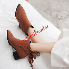 Womens Ankle Boots Block Low Heel Suede Pointy Toe Solid Tassel Fashion Shoes