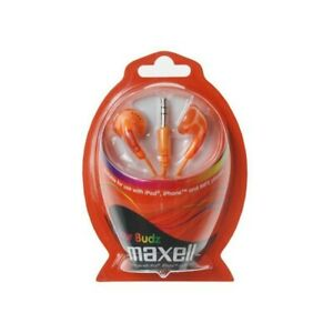 Maxell Color Buds Earphones Orange Brand New & Sealed 1 Full Box 8 x Pairs
