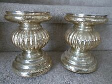 Valerie Parr Hill S/2 Lit Candle Holder Pedestals w/ Mirror Inserts in Champagne