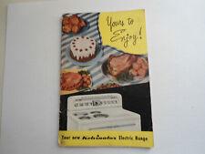 Yours To Enjoy Kelvinator Electric Range 1948 Booklet