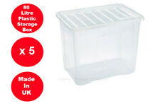 5 x 80 LITRE PLASTIC STORAGE BOX - X LARGE -STRONG CONTAINER - CLEAR LID - CHEAP