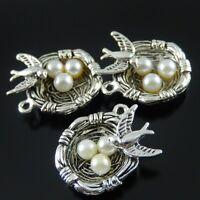 10PCS Antiqued Silver Vintage Alloy Egg Bird Nest Pendant Charms 37288