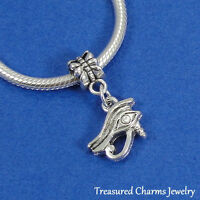 Silver EYE OF HORUS RA Egyptian Dangle Bead CHARM fits EUROPEAN Bracelet