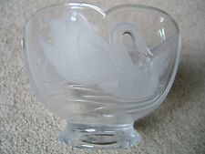EXQUISITE VINTAGE LEAD CRYSTAL GLASS BOWL - FROM FRANCE - SWANS DESIGN - NICE!!!