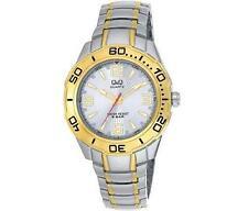 Q&Q F348-404Y Mens Silver Dive Dress Quartz Bracelet Watch New Citizen Movement