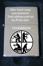 Feuerwehr Emblem als Bildgravur Feuerzeug inkl. gratis Textgravur Feuerwehr Logo