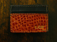 Glossy Cognac Genuine American Alligator Money Clip Wallet Made in USA