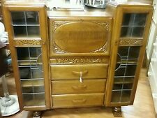 Beautiful Vintage Ornate Bureau Display Cabinet With Leaded Glass With Key