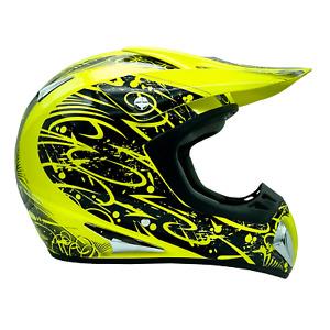 New Adult Dirt Bike Yellow Hi-Viz Helmet ATV Off Road ORV Motocross DOT Typhoon