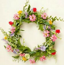 """New French Country Cottage Chic SUMMER GARDEN WILD FLOWER WREATH Candle Ring 18"""""""