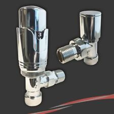 Thermostatic (TRV) Chrome Angled Valve Set for Radiators & Towel Rails (Pair)