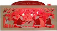 Wooden Merry Christmas Gift Lights and 20 Melodies Pop Up Greeting Card