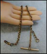 Fill Chain For Pocket Watch or Fob Thick Antique / Vintage Victorian T Bar Gold