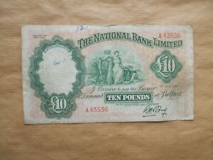 THE  NATIONAL  BANK  LTD, 1959  £10 NOTE.