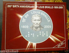 200 TH BIRTH ANNIVERSARY OF LOUIS BRAILLE UNC COINS SET OF RS. 100 & RS. 2