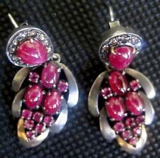18K/blackened silver w/ black diamonds & cabochon rubies dangling earrings!