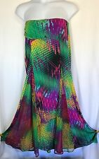 Orna Farho Paris Strapless Dress US 14 Italy46 Maxi Gorgeous Print Cruise Resort