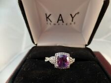 Amethyst Ring Lab-Created White Sapphires Sterling Silver # S 1168
