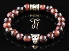 Rouge Oeil de Tigre 8mm Bracelet Bracelet de Perles Argenté Tête de Léopard