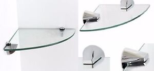 CLEAR GLASS WALL MOUNTED SHELVE SHELF RACK KITCHEN HOME OFFICE BATHROOM BOOKCASE